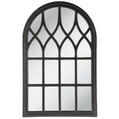 Large Window Pane Mirror Elegant Arched Black Wood Frame Living Room Wall Decor #NeedfulThings #Classic
