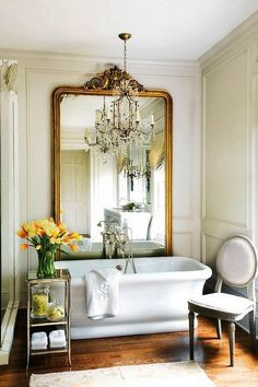 Yes...Angels please deliver!! Gilt Floor Mirror, French, bathroom, Amy D. Morris Interiors