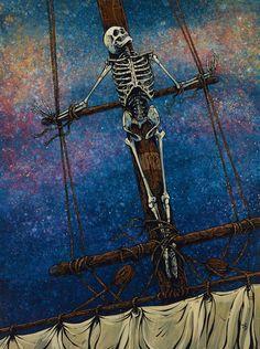 Day of the Dead Artist David Lozeau, Judged by the Sea, Oceanic Art, Dia de los Muertos Art, Sugar Skull Art, Candy Skull, Skull Art, Skeleton Art