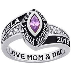 Personalized Women's Sterling Silver Marquise Birthstone and CZ Class Ring, Metal Type