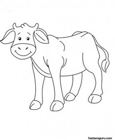Printable Farm animal Baby cow Coloring page - Printable Coloring Pages For Kids