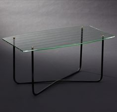 Jacques Hitier; Glass, Enameled Metal and Brass Coffee Table for Marly Frères, 1955.