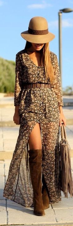Such a good idea to wear over the knee boots with maxi dress,