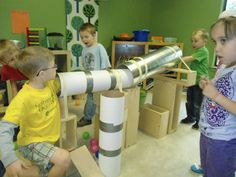 Big tubes in the block area. Train Activities, Toddler Activities, Block Center Preschool, Block Play, Toddler Classroom, Creative Curriculum, Daycare Crafts, Preschool At Home, Childhood Education