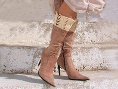 Creame spats  boot cuffs leg warmers ankle warmers by Lasunka,