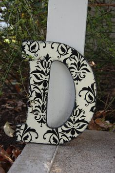 black and cream damask wooden letters