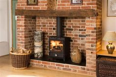 StovesNfittingUK - Our gallery of woodburning stove pictures, inglenook fireplace pictures and multifuel burners Wood Stove Hearth, Wood Burner Fireplace, Faux Fireplace Mantels, Brick Hearth, Build A Fireplace, Inglenook Fireplace, Fireplace Design, Brick Fireplaces, Fireplace Ideas