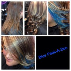 Before & after! Gave her highlights/lowlights & a blue peek-a-boo in the front!