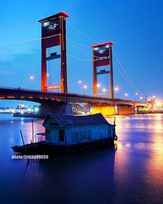 Ampera Bridge. Historical bridge in Palembang, South Sumatra, Indonesia