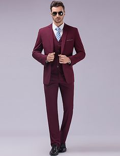 Suits Slim fit Tyndt hakrevers Single Breasted En-knap 3 dele Burgunder Lige m. flap 2292637 2016 – $111.19