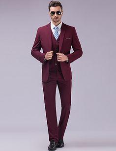 Suits Slim fit Tyndt hakrevers Single Breasted En-knap 3 dele Burgunder Lige m. flap 2292637 2016 – $111.19