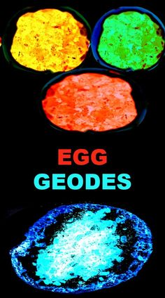 Make glowing geodes using eggshells!  This science experiment for kids explores evaporation and how crystals form within rocks. #egggeodes #egggeodeshowtomake #geode #geodeeggs #geodeeggexperiment #geodesdiy #eggshellgeodes #scienceexperimentskids #growingajeweledrose