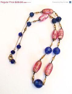 Art Deco Blue Pink Art Glass Bead Necklace Vintage by OurBoudoir