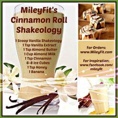 Cinnamon roll shake 1 scoop - vanilla shakeology 1 c - almond milk 1 tsp - vanilla extract 1 tsp - almond butter 1 tsp - cinnamon 1 tsp - honey 1 banana ice Shakeology Shakes, Beachbody Shakeology, Vanilla Shakeology, Isagenix Shakes, Protein Shake Recipes, Smoothie Recipes, Healthy Recipes, Protein Shakes, Best Shakeology Recipes