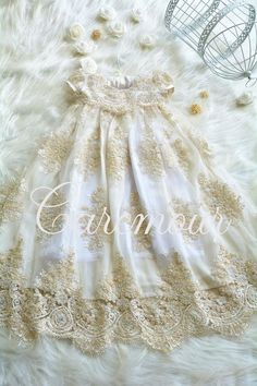 e1fbda70a8 Martina - Beaded Corded Champagen and white Christening Gown