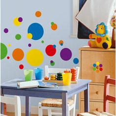 RoomMates RMK1248SCS Wandsticker kunterbunt gepunktete Wandgestaltung für Kinderzimmer, Spielzimmer: Amazon.de: Küche & Haushalt  http://www.amazon.de/RoomMates-RMK1248SCS-Wandsticker-Wandgestaltung-Kinderzimmer/dp/B001M5UDVI