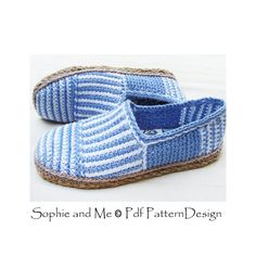 CANVAS STRIPE BASIC SLIPPERS *No in- or out-soles included* **This listing is for a CROCHET PATTERN. You are not buying a finished product! INSTANT DOWNLOAD PDF**  CANVAS STRIPED BASIC SLIPPERS  I love stripes, that's obvious! White- and any-color-stripes reminds me of endless, sunny summer days!  Challenging vertical stripes on the toe-piece! Written instructions with step-by-step-pics. As usual I had the classic shape of Espadrilles in mind, designing these slippers. And as I always do…