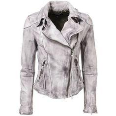 Muubaa Cortez Raw Seam Leather Biker Jacket in Dark Clouds