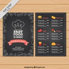 elaborado menu de fast food mão no estilo negro Vetor grátis
