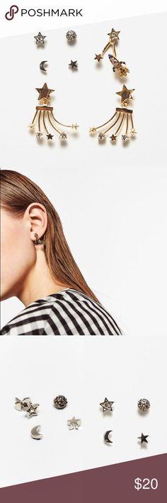 "Zara Assorted Stars Earrings Star earrings assortment! Brass, zinc and glass. 7 Earrings to mix and match! 4 Studs and 2 1.25"" longer Earrings. Zara Jewelry Earrings"