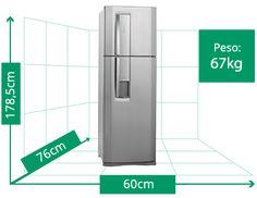 Resultado de imagem para geladeira duas portas tamanho