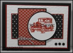 "Guy Greetings"" stamp set Cajun Craze, Basic Black and Whisper White. Basic Black Bakers Twine;Basic Black Candy Dots"