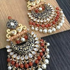 Meenakari Earrings 🌈🌟 Our Luxurious Collecton Fashion meet Tradition collection . DM us for pricing Swipe for more… Indian Jewelry Earrings, Indian Jewelry Sets, Fancy Jewellery, Jewelry Design Earrings, Ear Jewelry, Latest Jewellery, Stylish Jewelry, Cute Jewelry, Fashion Earrings