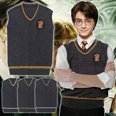 Haute Qualité Badge Adulte Harry Potter Chandail Gilet Serpentard Gryffondor Serdaigle Cosplay Costume Homme Gilet Plus La Taille XXL