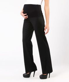 Love this Black Over-Belly Maternity Trouser Pants - Women & Plus by Gor&Sin Maternity on #zulily! #zulilyfinds
