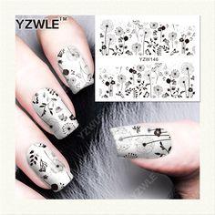 YZWLE 1 Hoja de Etiquetas de DIY Uñas de Arte de Transferencia de Agua de Impresión Pegatinas Accesorios Para Manicura Salon (YZW-146)