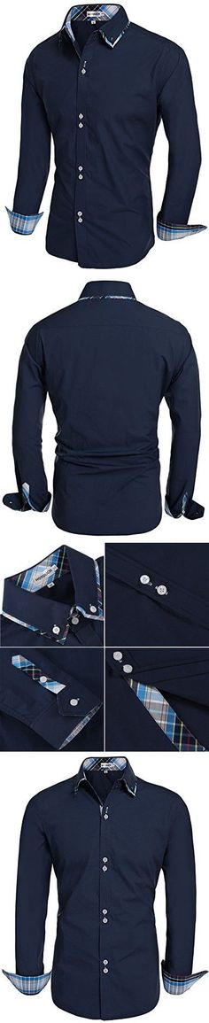 HOTOUCH Men Casual Botton Down Shirt Slim Fit Dress Shirts Navy Blue XL