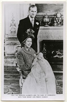 The Duke of Edinburgh and his beaming wife beginning their new lives as parents to their 1st child, Prince Charles.