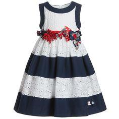 Blue & White Stripe Cotton Dress - Dresses - Girl | Childrensalon