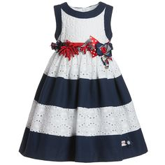 Blue & White Stripe Cotton Dress - Dresses - Girl | Childrensalon