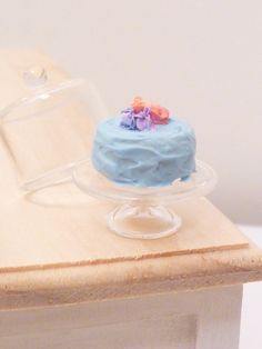 Miniature Dollhouse Blue Frosted Cake with by MinnieKitchen