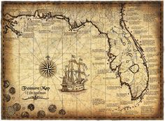 """Treasure Map Of The Southeast Limited Edition, 16"""" x 22"""" Treasure Map…"""