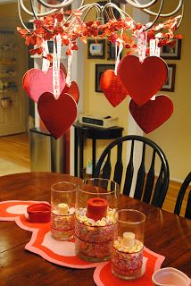 Valentine's Day runner and hanging hearts