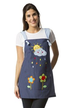 Stole for teacher with a sun and cloud drawing embroidered on the yoke smile . - Stole for teacher with a sun and cloud drawing embroidered on the yoke smiling with colored raindro - Teacher Apron, Sewing Crafts, Sewing Projects, Cute Aprons, Sewing Aprons, Recycle Jeans, Creation Couture, Kitchen Aprons, Apron Dress