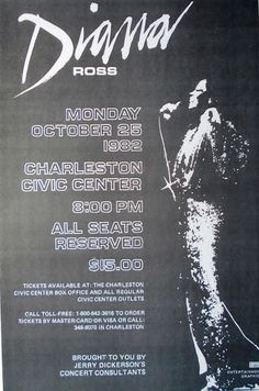 Diana Ross Live Charleston Civic Arena Motown Rare Concert Sheet Poster Print