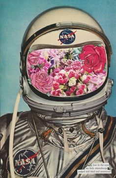 Collage Art I like that the picture of flower print is used inside the mask of the astronaut. It looks like a collage and has very many details to it. Arte Pop, Art Du Collage, Flower Photo Collage, Art Collages, Pop Art, Eugenia Loli, Photocollage, Alphonse Mucha, Psychedelic Art