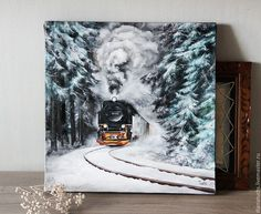 Items similar to Original oil painting-Hand painted train railroad landscape-Realistic landscape - Harry Potter - Hogwarts express on Etsy Small Canvas Art, Mini Canvas Art, Illustration Noel, Guache, Arte Disney, Pastel Art, Pastel Drawing, Cool Art Drawings, Small Paintings