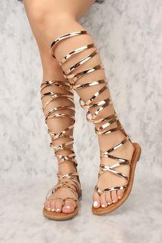 0bf50d3b7f67 Sexy Rose Gold Metallic Gladiator Thong Sandals Patent