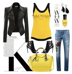 """""""Yellow"""" by camilika ❤ liked on Polyvore featuring Burberry, Balmain, Deborah Lippmann, Color Wow, Dolce&Gabbana, MANGO and yellow"""