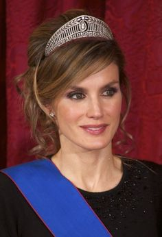 Princess Letizia of Spain wearing the Prussian Diamond Tiara. // umm, yeah. that's awesome tiara hair.