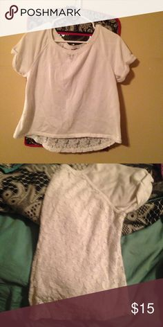 White crop top with sheer back lace design. Can be paired with shorts or used over a bathing suit as a cover. Only worn about 2 times. Bought brand new for $50! Aeropostale Tops Crop Tops