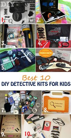Best 10 DIY Detective Kits for Kids Learn what it takes to be a special agent and solve mysteries. Best 10 detective kits for kids for play, party favors or DIY gifts. Detective play pretend for girls and boys. Fun and educational activities for kids Educational Activities For Kids, Craft Activities, Kids Learning, Secret Agent Activities For Kids, Geheimagenten Party, Party Favors, Detective Party, Detective Crafts, Secret Agent Party