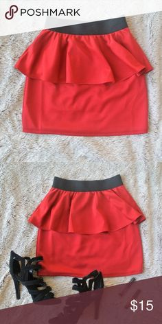 Gypsy Warrior Red Peplum Mini Skirt w/ Black Band This is the perfect mini skirt! Featuring a sexy peplum shape and black band. From Gypsy Warrior online store. Dress it up with a crop top and black heels for a night out; a body suit or plain tee and sandals for a more casual look.  Size S - Never worn Reasonable offers and questions are always welcome! Gypsy Warrior Skirts Mini