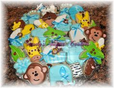 Baby Shower Jungle Theme Sugar Cookies and Cupcakes