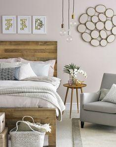 Guest room feminine wood headboard