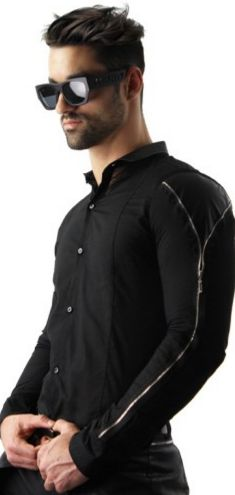 Stylish Slim Fit Shirt by Open. Designed with black faux leather accents and silver zipper detail sleeves. | www.differio.com
